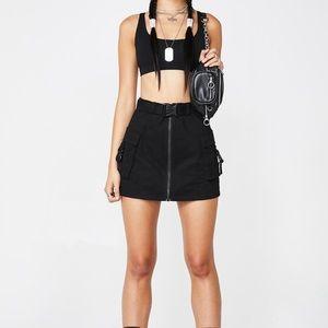 Dolls Kill Black Cargo Skirt